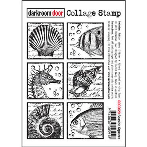 """Darkroom Door - """"Seaside Squares"""" Collage Rubber Stamp"""