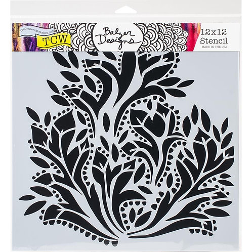 TCW 12x12 Stencil Dramatic Floral
