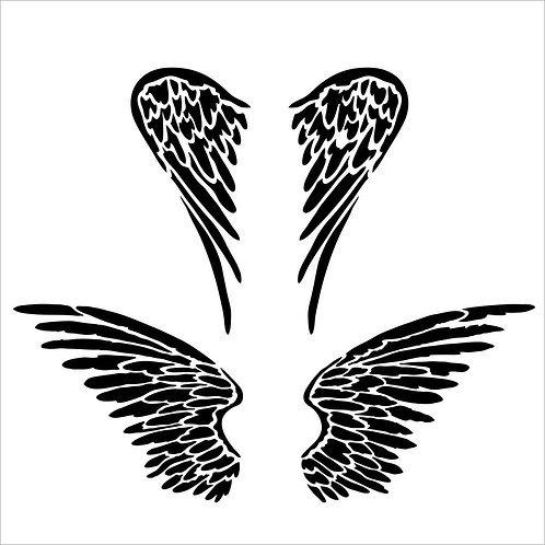 "TCW - 6x6 Stencil -  ""Mini Angel Wings"""