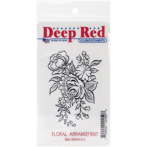 Deep Red Cling Stamps - Floral Arrangment
