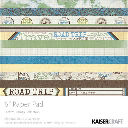 """Kaisercraft  6.5""""x 6.5"""" Paper Pad 24 pages """"Pack Your Bags"""""""