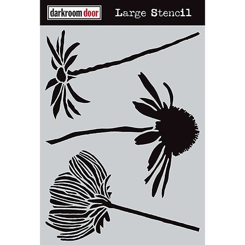 "Darkroom Door Large Stencil - 9x12 ""Carved Flowers"""