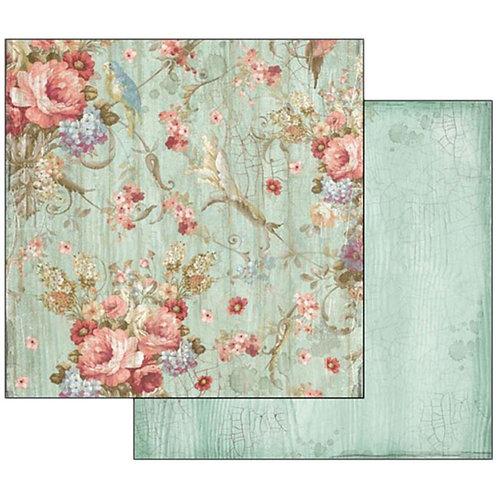 "Stamperia 12"" x12"" Paper  ""Flowers "" 1 Piece"