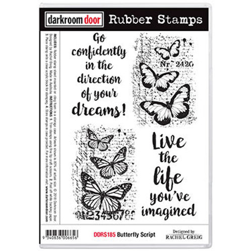 """Darkroom Door - """"Butterfly Script""""  Rubber Stamp"""