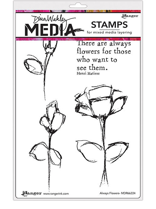 """Dina Wakley Mixed Media Cling Rubber Stamps """"Always Flowers"""""""