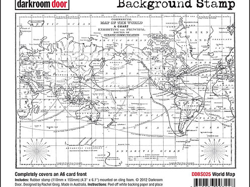"Darkroom Door - ""World Map""   Background Rubber Stamp"