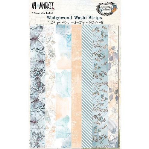 "49 Market Wedgewood Washi Strips Tape 2 5x7"" sheets"
