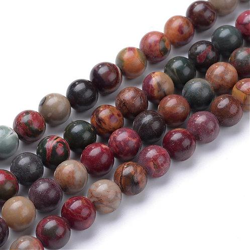 8MM Picasso Jasper Round Gemstone Beads.