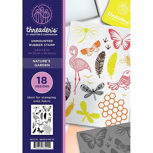 "A5 Unmounted Rubber Stamps ""Natures Garden"" By Crafters Com"
