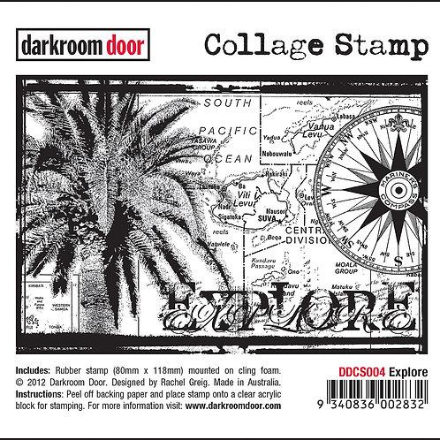 """Darkroom Door Collage Stamp - """"Explore"""""""