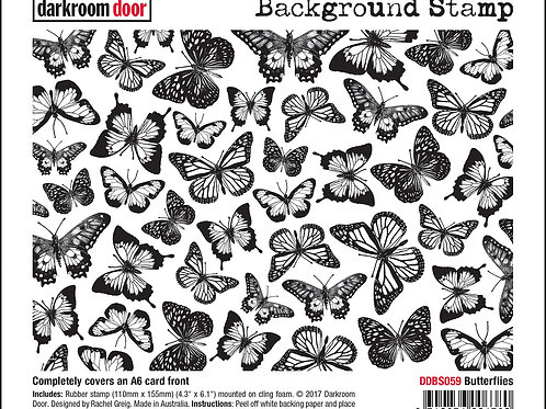 "Darkroom Door - ""Butterflies""   Background Rubber Stamp"