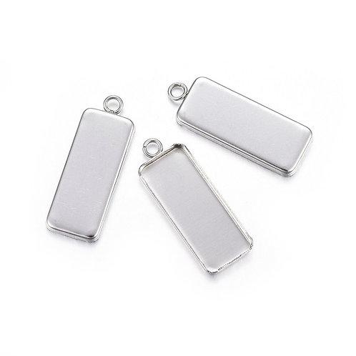Rectangle Silver Cabochon Tray 25x10mm  30X11X2MM 5pcs