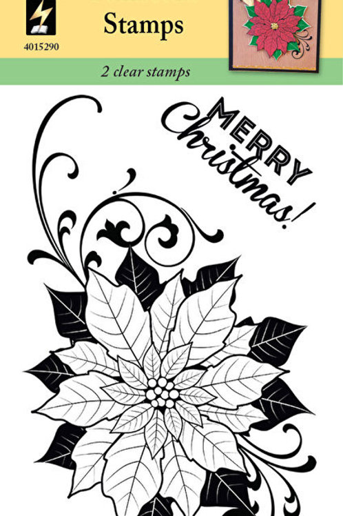 """HOTP  """"Poinsettia"""" Clear Stamp 4x6"""