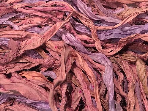 5M Sari Silk Pink/Lilac Tones  (5Meters)