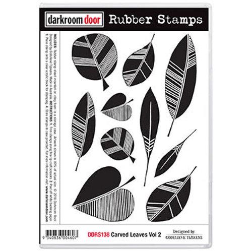 "Darkroom Door - ""Carved Leaves Vol 2""  Rubber Stamp"