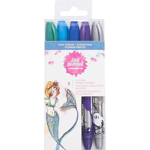 """Cool Oceans"" Jane Davenport Mixed Media Glitz 2 Marker Pens"
