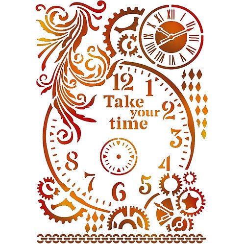 """Stamperia Stencil A4 Vintage """"Take your Time"""""""