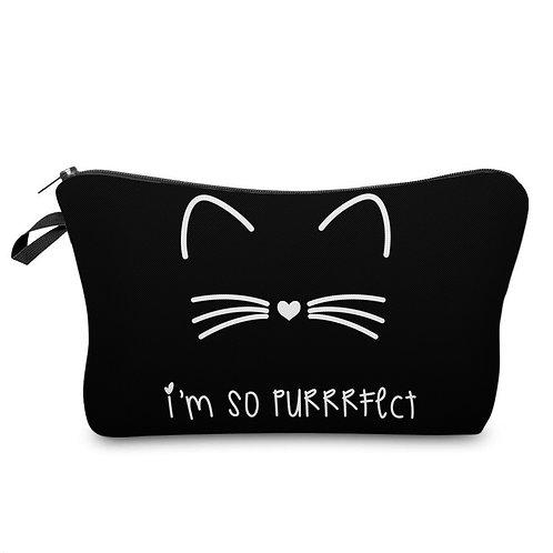 """Im So Perfect"" Cat Zipper Top 8.65""X5.35"" Accessory Bag"