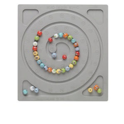 Bead board, silicone rubber, grey, 7 x 7-1/2 x 1/4 inch rectangle with spiral de