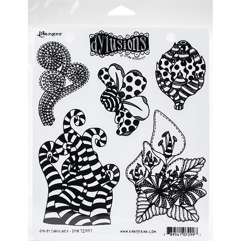 "Dyan Reaveley's Dylusions Cling Stamp  8.5""X7"" ""Stripy Curlicues"""