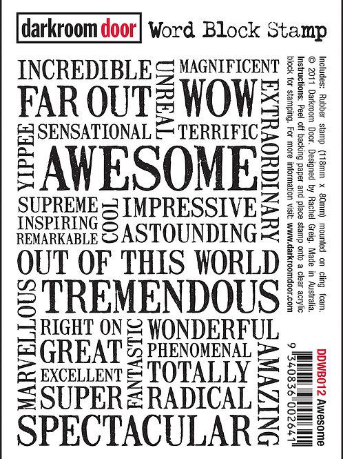 Awesome - Darkroom Door Word Block Stamp