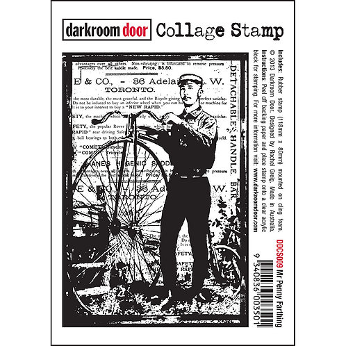 "Darkroom Door Collage Stamp - ""Mr Penny Farthing"""
