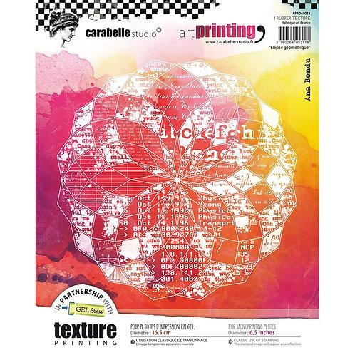 """Carabelle Studio Art Printing Rubber Texture Plate """"Ellipse Geometrique"""""""