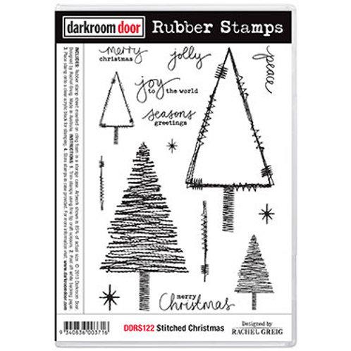 """Darkroom Door - """"Stitched Christmas"""" Rubber Stamp"""