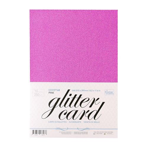 Glitter Card - Pink  A4 - 250gsm (10 sheets per pack)