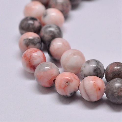 8MM Pink Zebra Jasper Round Gemstone Beads.
