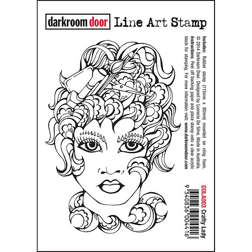 """""""Crafty Lady"""" -Darkroom Door Line Art Stamp"""