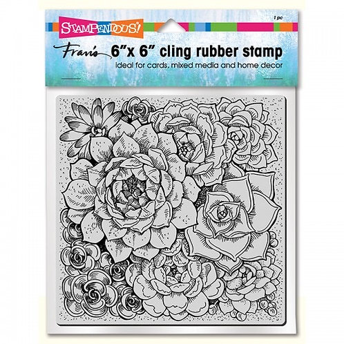 """""""Succulents"""" 6""""x6"""" Background Stampendous Cling Mount Rubber Stamps"""