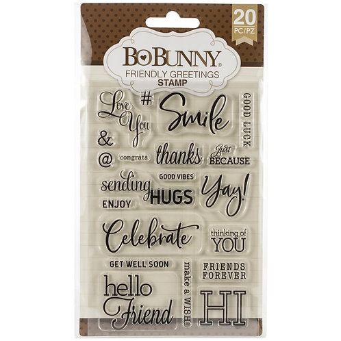 """BoBunny Clear Stamps 4""""X6"""" """"Friendly Greetings"""""""