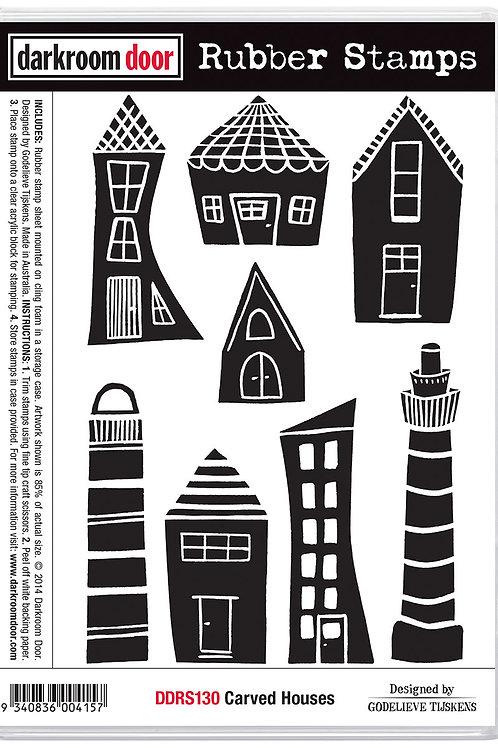 "Darkroom Door - ""Carved Houses""  Cling Rubber Stamp"