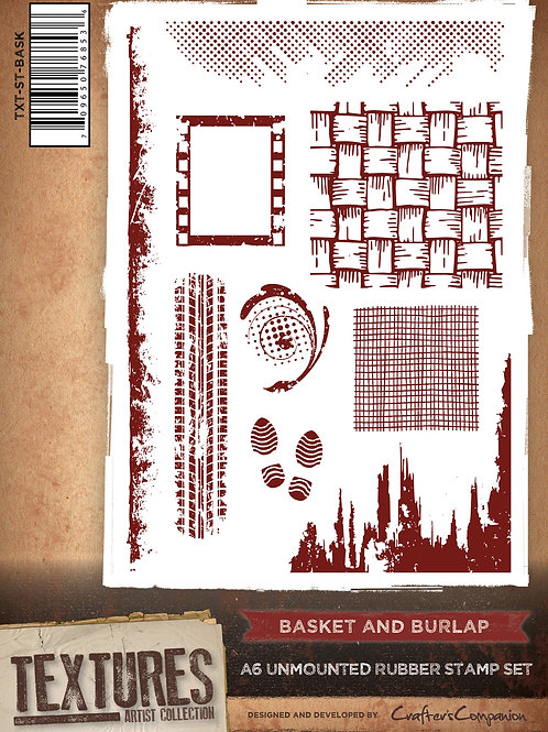 """""""Basket & Burlap"""" Crafters Companion Unmounted Rubber Stamps"""