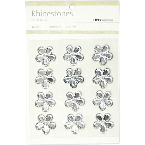 "KAISERCRAFT-Self-Adhesive Flower Rhinestones.12pcs ""Clear/Silver"""