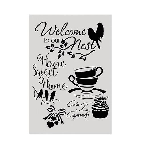 A4 Stencil Bird Welcome