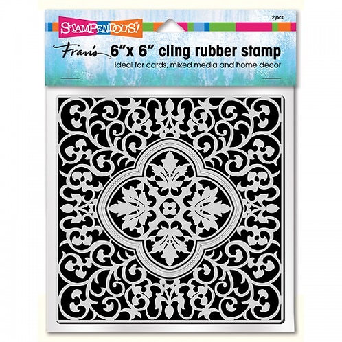 """Taj Tile"" 6""x6"" Background Stampendous Cling Mount Rubber Stamps"