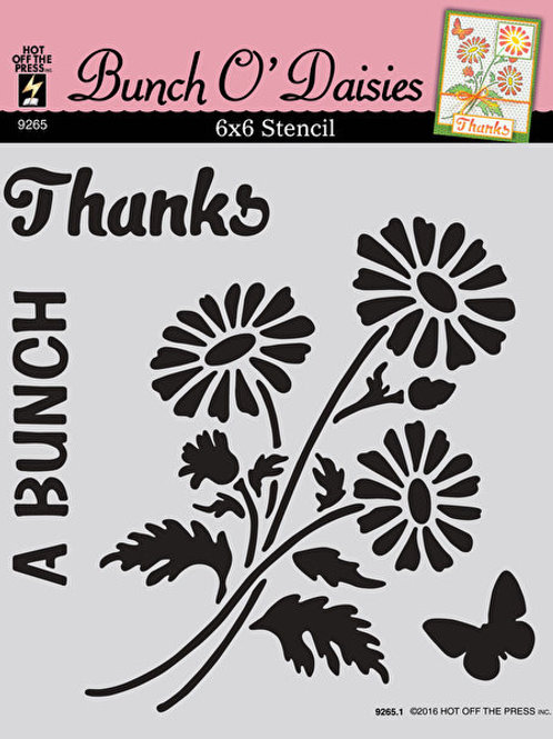 6x6 Plastic Stencil - Bunch O'Daisies