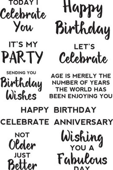 "Kaisercraft Clear Acrylic Background Stamp ""Birthday Sentiments"""