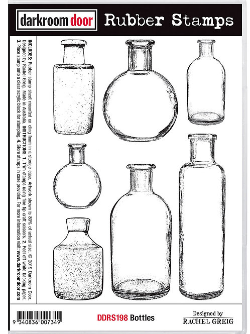 """Darkroom Door - """"Bottles""""  Rubber Stamp"""