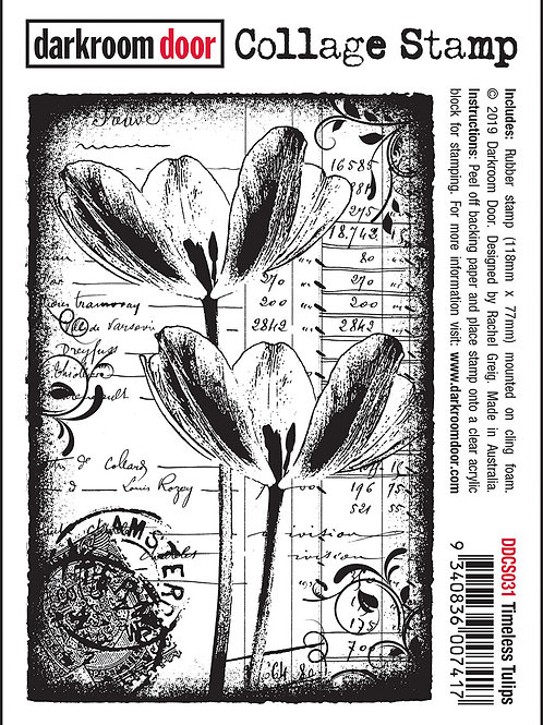 "Darkroom Door Collage Stamp - ""Timeless Tulips"""