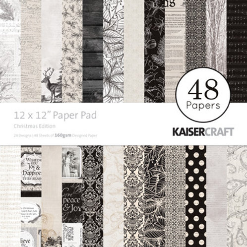 "Kaisercraft  12""x 12"" Paper Pad 48 pages ""Christmas Edition"""