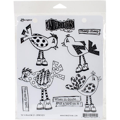 """Dyan Reaveley's Dylusions Cling Stamp  8.5""""X7"""" """"Put a Bird On It"""""""