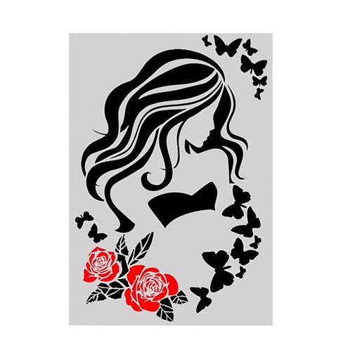 A4 Stencil Girl & Butterflies