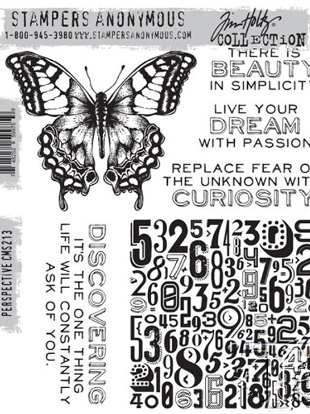 """""""Perspective"""" Tim Holtz Cling Stamps 7""""X8.5"""" by Stampers Anonymous"""