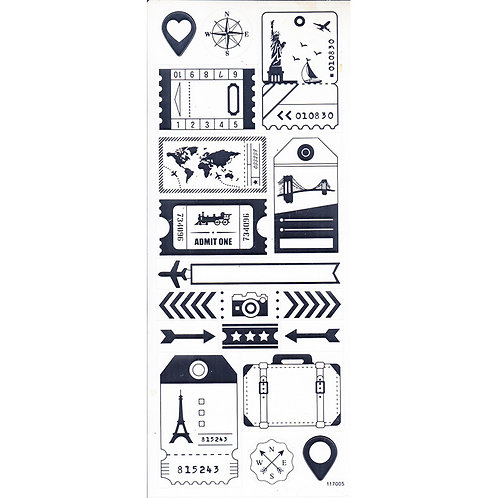 "Silver  ""Travel - Journal"" Stickers"