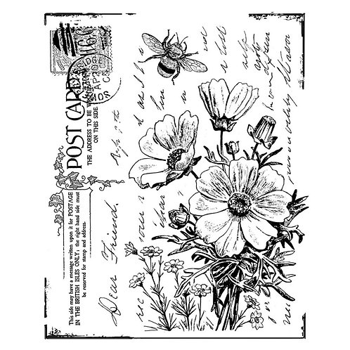 "Crafty Individuals Unmounted Rubber Stamp 3 X 31/2"" ""Flower Postcard"""