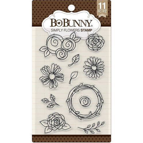 """BoBunny Clear Stamps 4""""X6"""" """"Simply Flowers"""""""