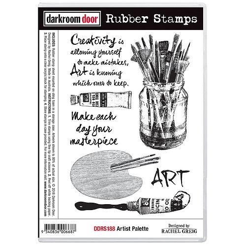 Artist Palette -Darkroom Door Cling Rubber Stamp
